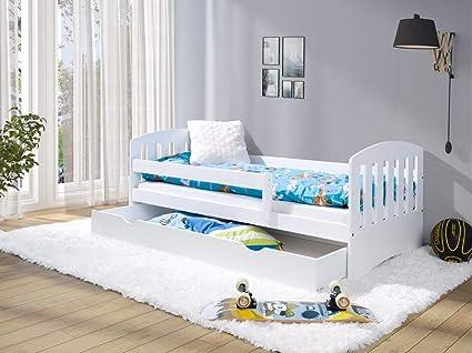LULU MÖBELLUKAS - Cama infantil completa (160 x 80 cm, con colchón, somier y cajón, para niños a partir de 2 años), color blanco
