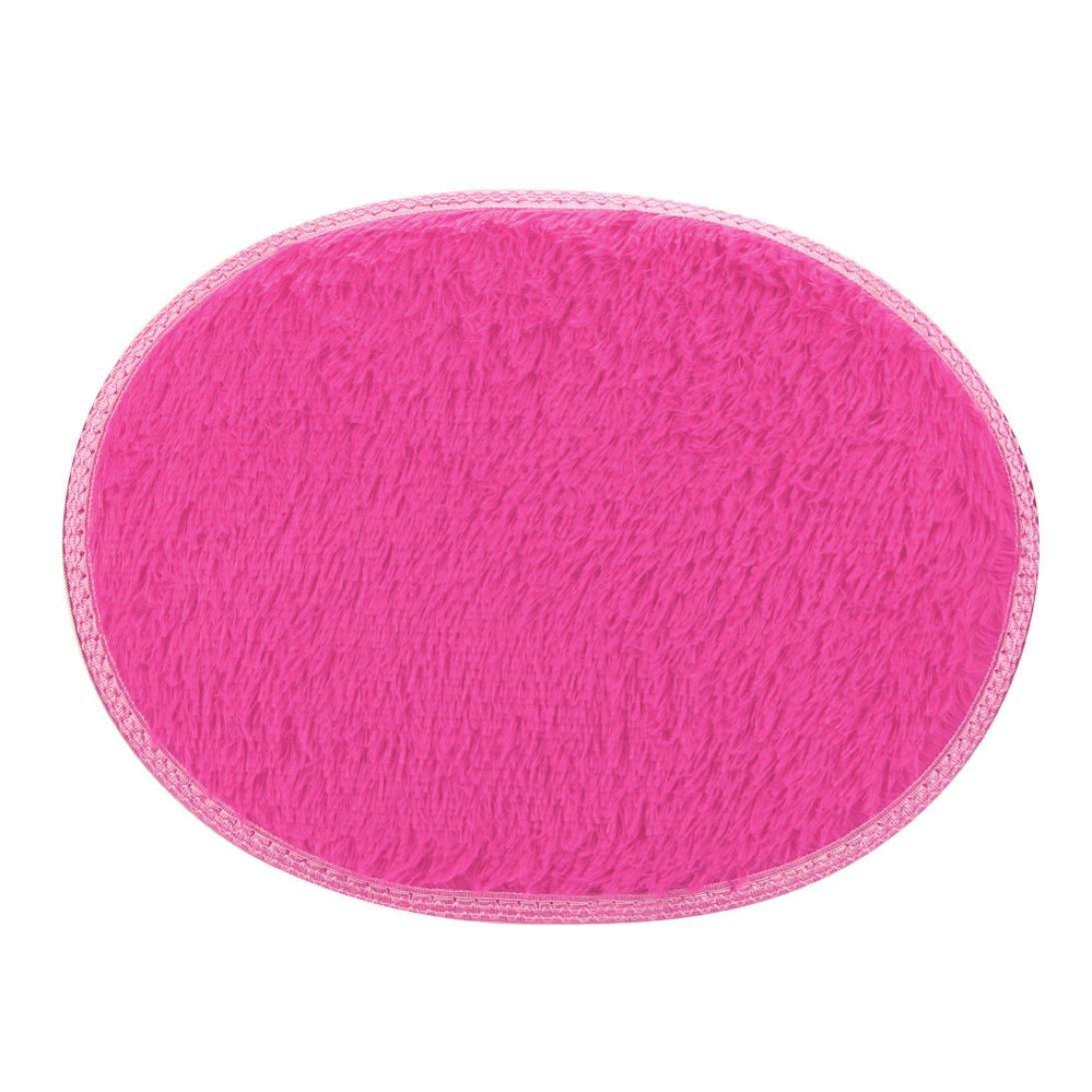 Tiean 30*40cm Anti-Skid Fluffy Shaggy Area Rug Home Bedroom Bathroom Floor Door Mat (Hot Pink)