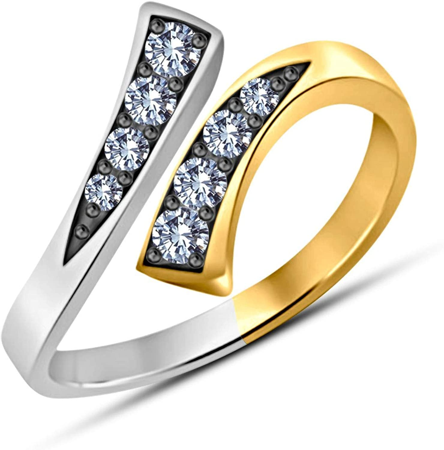 Gemstar Jewellery White Sim Diamond Pure 925 Silver 14k Two Tone Gold Over Adjustable Bypass Toe Ring