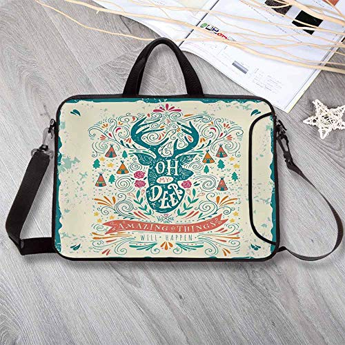 """Vintage Decor Anti-Seismic Neoprene Laptop Bag,Reindeer with Antlers with Native American Tribal Element and Flowers Motivational Laptop Bag for Travel Office School,8.7""""L x 11""""W x 0.8""""H ()"""