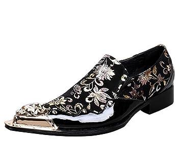 Zapatos hombre Impresión Terciopelo occidental Metal Dedo pie Mocasines Puntiagudo Negocio Formal Fiesta Club Negro Tamaño