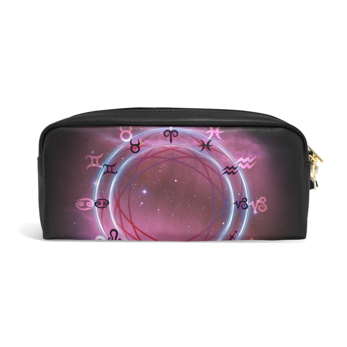 Bennigiry Horoscopio rueda galaxy Zodiac estuche portátil bolígrafo organizador bolso escolar bolígrafo bolso de cuero de la PU de gran capacidad maquillaje ...