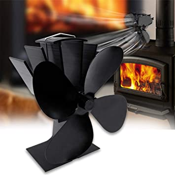Ventilador de estufa con 4 aspas, ventilador de chimenea de madera, quemador de leña, sin electricidad, silencioso: Amazon.es: Bricolaje y herramientas