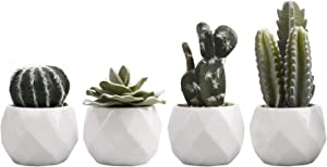 MyGift Mini Assorted Artificial Cactus & Succulent Plants in White Geometric Ceramic Planters, Set of 4