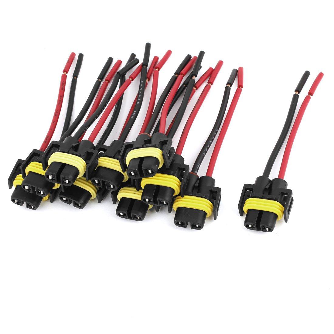 uxcell 10 Pcs Auto Headlight H11 Socket Harness Plastic Connector Base US-SA-AJD-39923