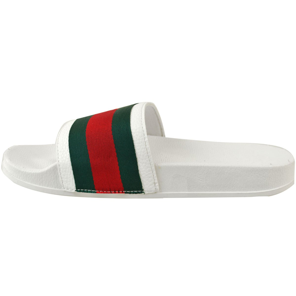 ecf75e90f Fashion Thirsty Womens Flat Striped Sliders Summer Sandals Slides Mules  Slider Slippers Size FSD75  White  8