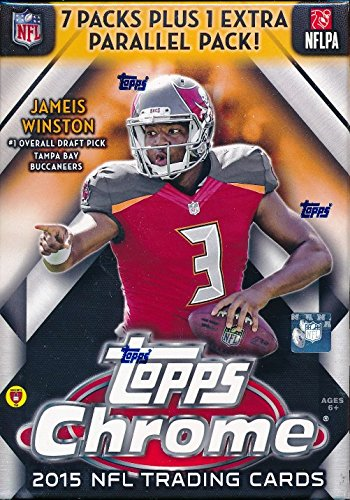 (2015 Topps Chrome NFL Football EXCLUSIVE Factory Sealed Retail Box with SPECIAL 4 Card REFRACTOR Bonus Pack! Look for Rookies & Autographs of Jameis Winston, Marcus Mariota & all Top 2015 Draft Picks!)