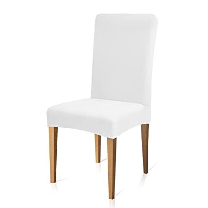 Awesome Subrtex Knit Dining Room Chair Slipcovers Sets Stretch Removable Chair Furniture Protect Covers Washable Elastic Seat Cover 6 Pieces White Knit Download Free Architecture Designs Madebymaigaardcom
