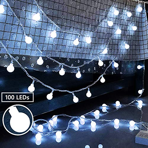 Ollny Globe String Lights 100 LEDs 33ft for Bedroom Indoor Outdoor Fairy String Lights Cool White for Christmas Wedding Party Garden Decoration with Remote Timer Plug in Waterproof NOT CONNECTABLE (Lights Really Christmas Cool)