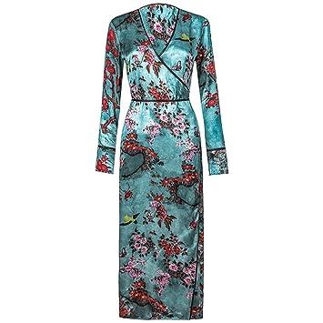 ShenZuYangShop Pijamas Camisones Batas Retro Estampados Azules Corbatas con Cuello en V Camisones Largos Pijamas de señora Verano Modelos Delgados Vestidos ...