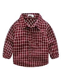 Baby Boys' Cotton Dress Shirt Plaid Long-sleeve Button UP Shirt Formal Tuxedo Tops, Red, 18-24 Months