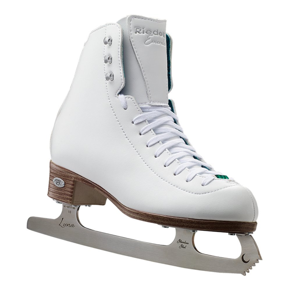 Riedell Skates - 119 Emerald - Women's Recreational Figure Ice Skates with Steel Luna Blade | White | Size 7 1/2 by Riedell (Image #1)