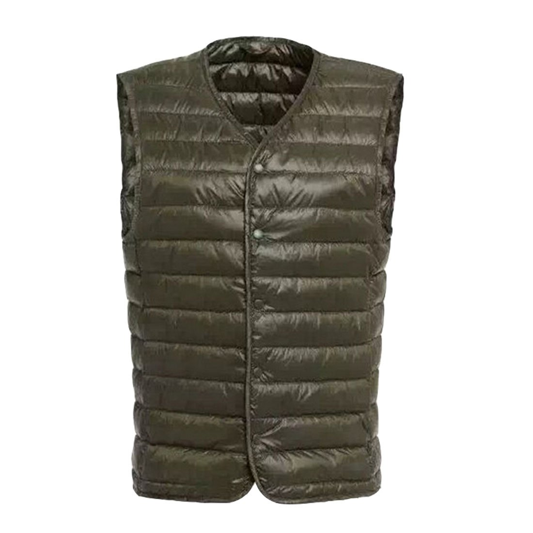 HZCX FASHION Men's V-Neck Button Up Quilted Packable Ultra Lightweight Down Vest