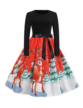 2583b276f60ec FeelinGirl Femme Robes Noel Robe mère Noel Robe Hiver Noel Robe de soirée Noel  Robe Noir ...