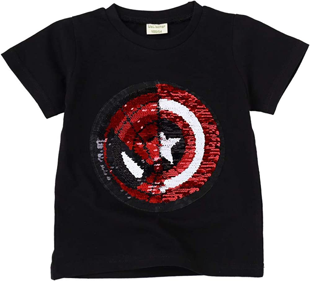 Flip Sequins for Boys Kids Girls Magic Sequin Cotton T-Shirt Tops 3-8 Years (Size 3-8)