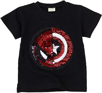 Camisetas Lentejuelas Mágico Reversibles Algodón Manga Corta Arriba Niño Niña 3-8 años: Amazon.es: Ropa y accesorios