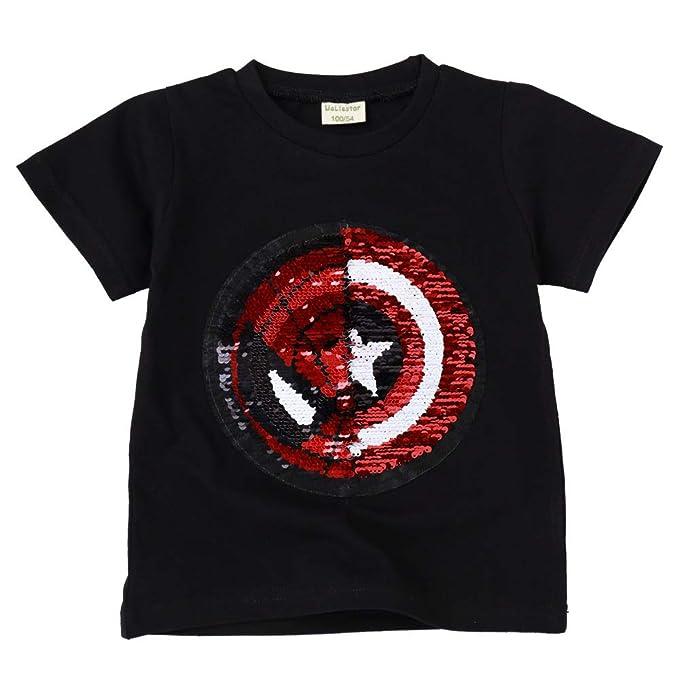 99c5f72cc Camisetas Lentejuelas Mágico Reversibles Algodón Manga Corta Arriba Niño  Niña(3-8 años  Amazon.es  Ropa y accesorios