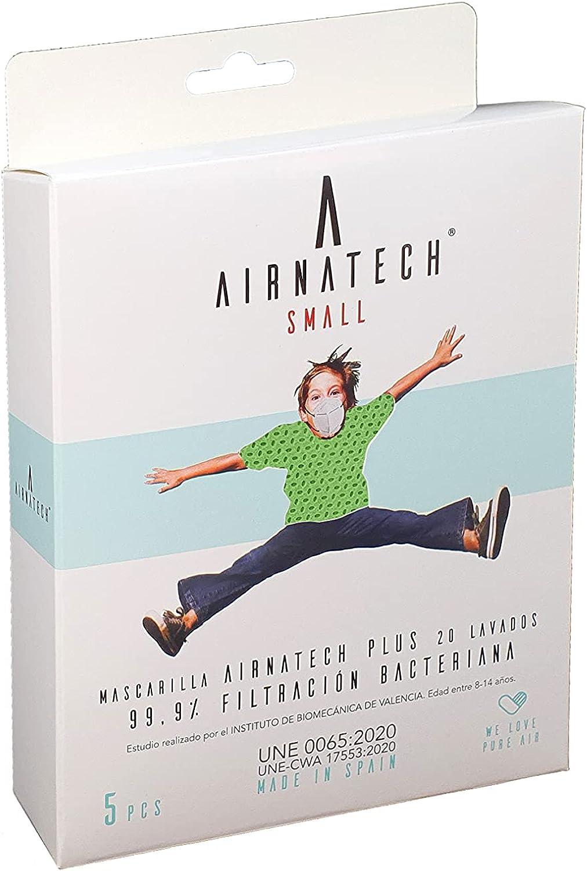 A AIRNATECH Mascarilla Higiénica Plus Verde Claro Talla S - Protección Bidireccional - 5 Unidades - Fabricada en España - Certificada por AITEX y ensayada por AENOR - Reutilizable hasta 20 lavados