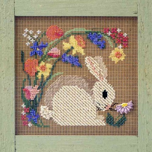 Mill Hill MHCB124 Blooming Bunny Beaded Counted Cross Stitch Kit Buttons & Beads 1999 Spring