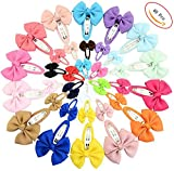 QandSweet 40Pcs Snap Hair Clips Fabric Ribbon Barrettes Hair Pins For Baby Girls Teens Toddlers Children Kids (20 Colors/40Pcs)