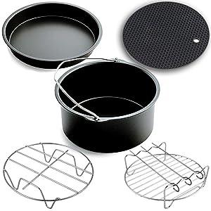 Air Fryer Accessories,Phillips Air Fryer Accessories and Gowise Air Fryer Accessories Fit all 3.7QT-5.3QT-5.8QT,Set of 5-7 inch