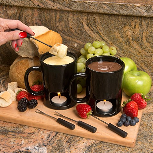 Evelots Fondue Mugs,2 Mugs,4 Forks & 8 Votive Candles-Minor Defects-14 Piece Set by Evelots (Image #2)
