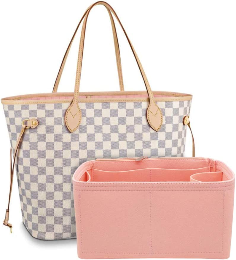 Felt Purse Bag Organizer Insert with zipper Bag Tote Shaper Fit Neverfull (Medium & MM Bag, Pink)