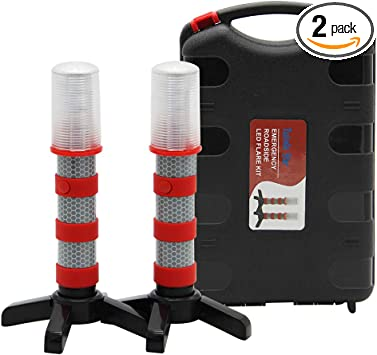 Set of 4 Detachable Stand Solid Storage Case Twinkle Star Emergency Roadside Flares Kit LED Safety Strobe Road Warning Light Highway Beacon Alert Flare with Magnetic Base