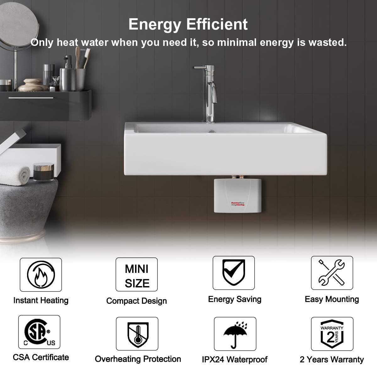 Ymiko Mini Calentador de Agua el/éctrico para el hogar Calentador de Agua instant/áneo sin Tanque M/áquina de calefacci/ón Cocina Accesorios de ba/ño 220V EU Plug-Negro