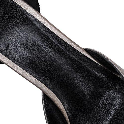 Amoonyfashion Femmes Assorties Couleur Matériau Doux Talons Hauts Boucle Peep-toe Sandales Noir