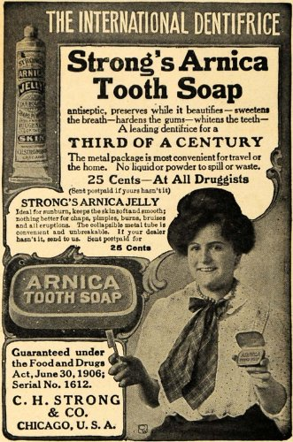 1908 Ad C. H. Strong Arnica Tooth Soap Jelly Hygiene - Original Print Ad - Arnica Tooth Soap