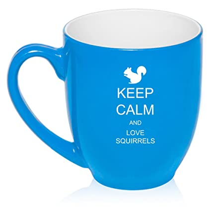 b8034a01806 Amazon.com: 16 oz Light Blue Large Bistro Mug Ceramic Coffee Tea Glass Cup  Keep Calm and Love Squirrels: Kitchen & Dining