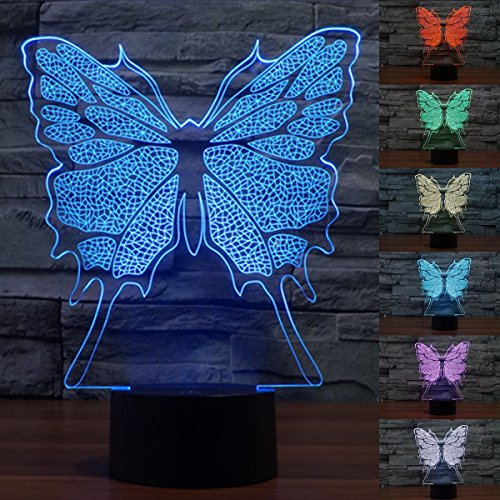 Cheap 3D Illusion LED Night Light,Threetoo 7 Colors Gradual Changing Touch Switch USB Table Lamp for Holiday Gifts or Home Decorations-Butterfly Model
