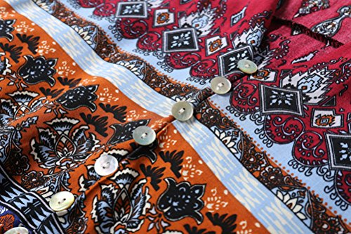 Rosso Partito Estate Floreali Abiti Boemia Donna Vestito Vintage Wine A Stampato Maxi Lunga Manica Abito Spiaggia Lungo Da FAqHTwqx4