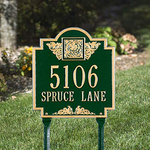 [해외]Lawn Mounted Metal Address Plaque with Monogram Initial House Number and Street Name - Choose Your Color / Lawn Mounted Metal Address Plaque with Monogram Initial, House Number, and Street Name - Choose Your Color