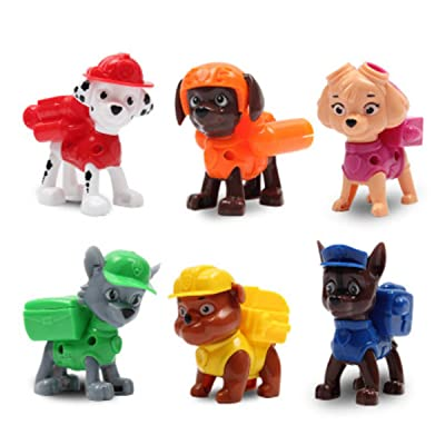6 Pcs Paw Patrol Figure, Deluxe Cake Toppers Cupcake Decorations Party favors including Ryder, Marshall, Chase, Skye