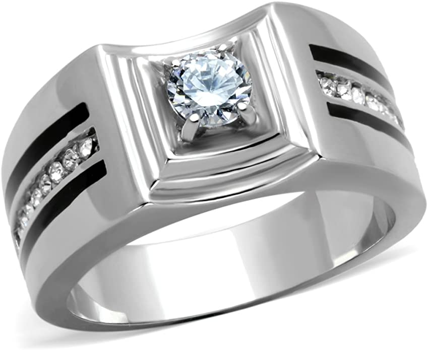 Stainless Steel Cut-out Striped Band Ring with Clear CZ