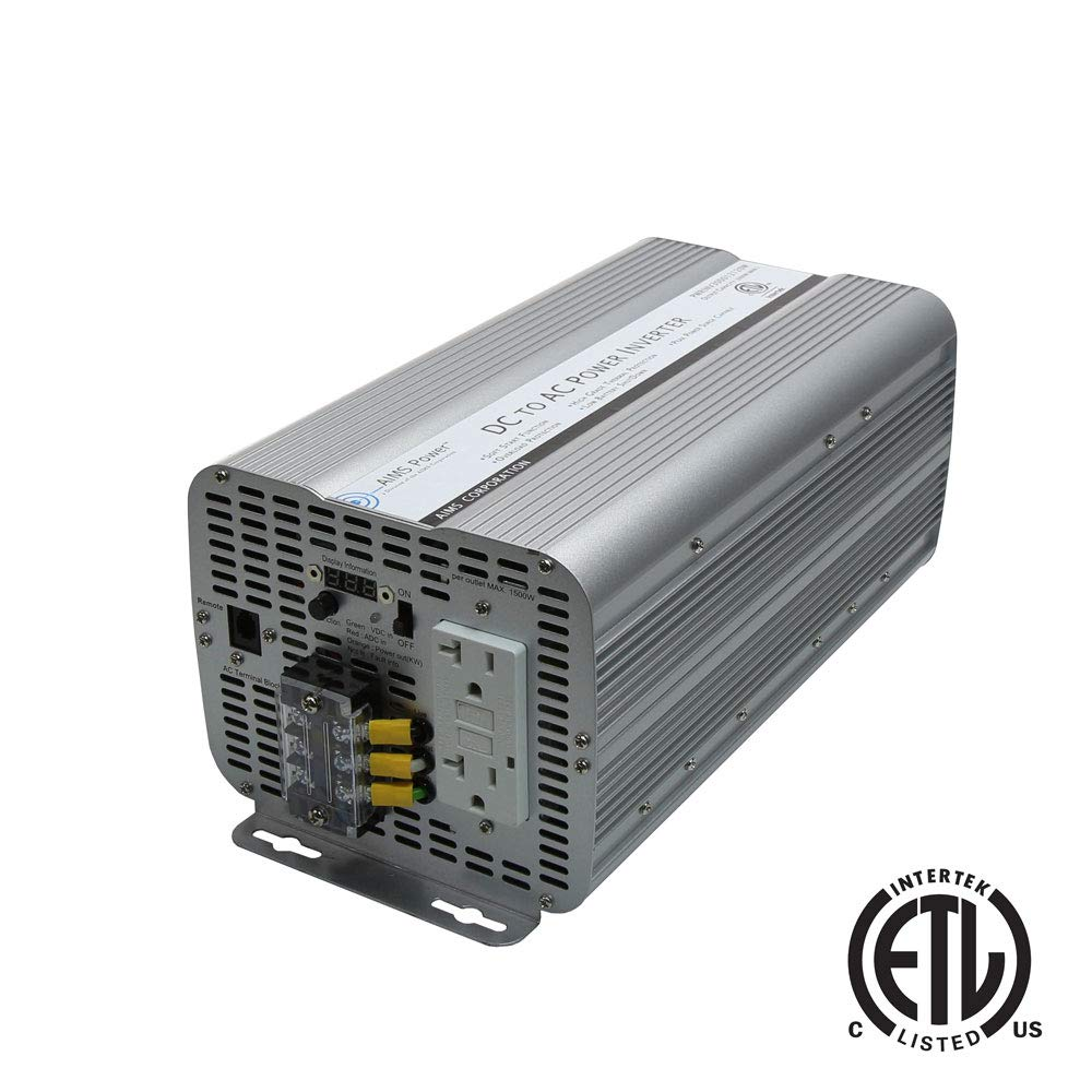 AIMS Power PWRINV300012120W 3000 Watt Modified Sine Inverter, 3000 Watts Continuous Output Power, 6000 Watts Surge Peak Power, Digital Display, LED Monitoring Lights, Dual GFCI Outlet