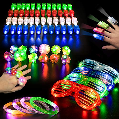 68 PCS LED Glow Party Favors,Ailuki Light Up Toys Glow in the Dark Party Supplies with 48 LED Finger Lights, 12 Flashing Bumpy Rings 4 Bracelets 4 Flashing Slotted Shades Glasses Christmas Accessories -