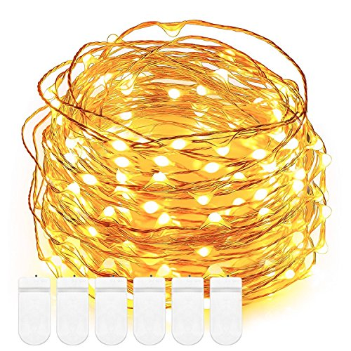 Fairy string Lights, DecorNova 5 Feet 30 LED Battery Operated Micro Copper Wire String Lights for Christmas Wedding Party Bedroom Mason Jar Decorations, Warm White (Set of 6)