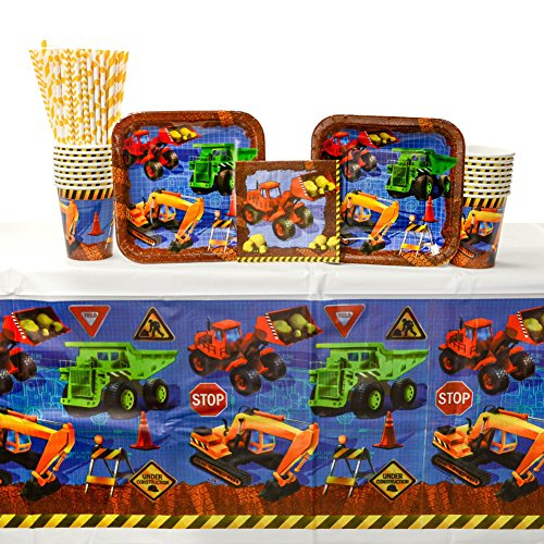 (Under Construction Birthday Party Supplies Pack for 16 Guests | Includes Straws, Dessert Construction Plates, Beverage Napkins, Cups, Tablecover | Construction Party Supplies for Boys Birthday)