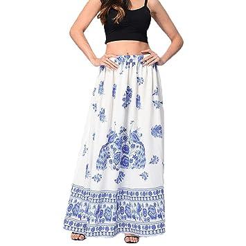 a4c72d72712f06 Clearance Women Maxi Dress, Beachwear Boho Floral Printed Skirt Holiday  High Waist Long Dresses (