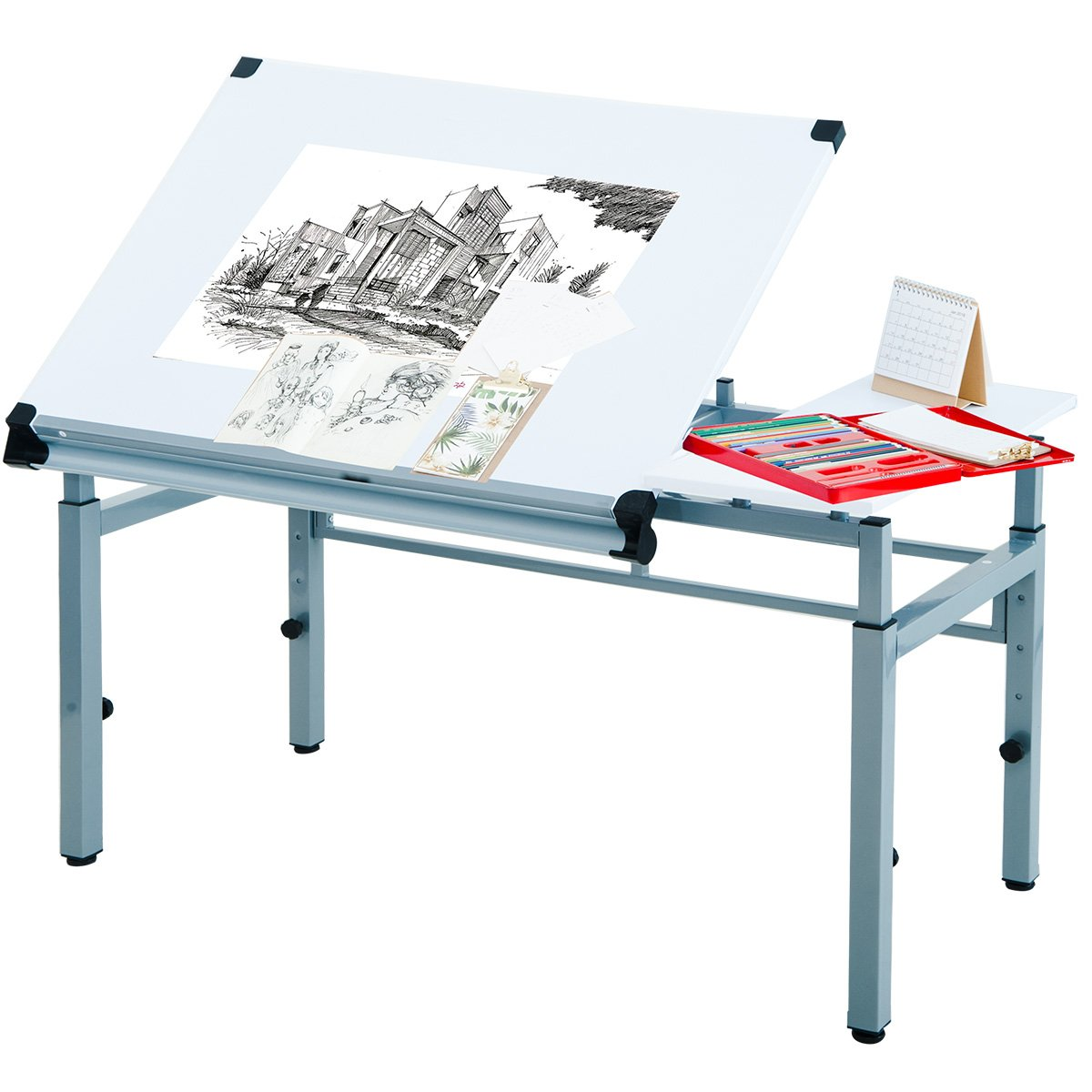 Harper&Bright Designs Drafting and Hobby Table Drawing Desk with Folding Top and Adjustable legs (White)