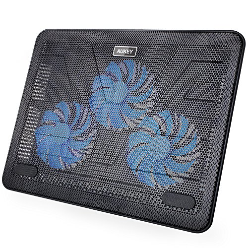 """Amazon Lightning Deal 78% claimed: Laptop Cooling Pad, AUKEY Laptop Cooler 15.6""""-17"""" with Three 120mm Quiet Fans & Ultra Slim Portable USB Powered"""