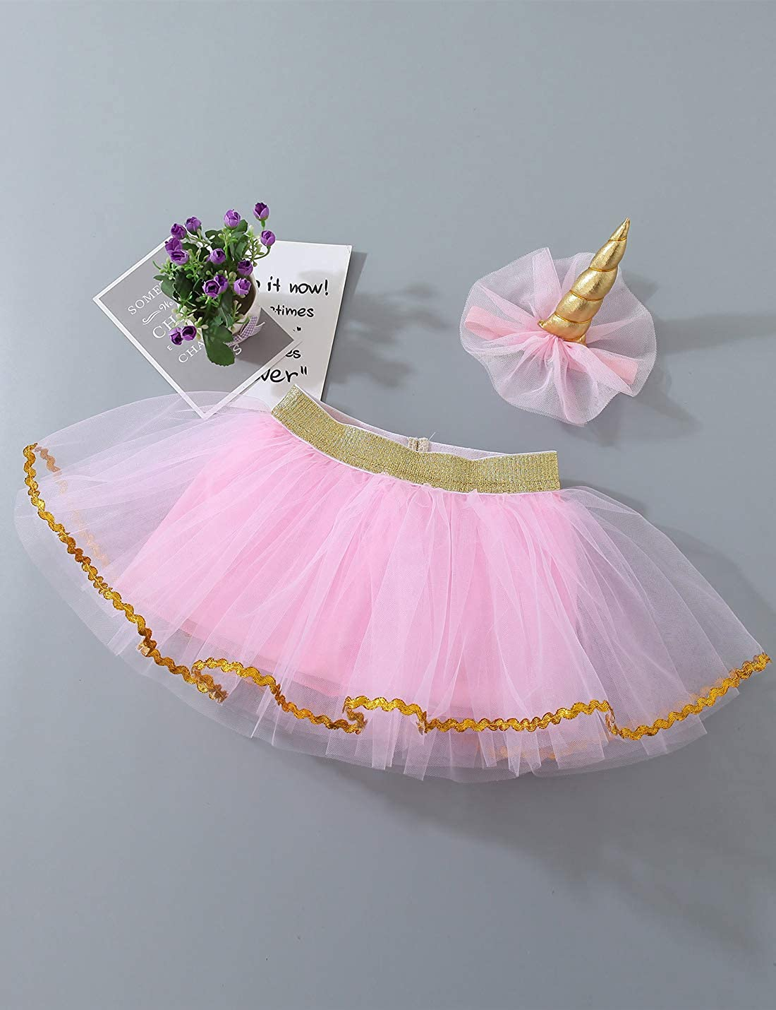 Baby Girls Tutu Skirt Sets Tulle Newborn Birthday Photo Props Outfits with Headband 0-2T