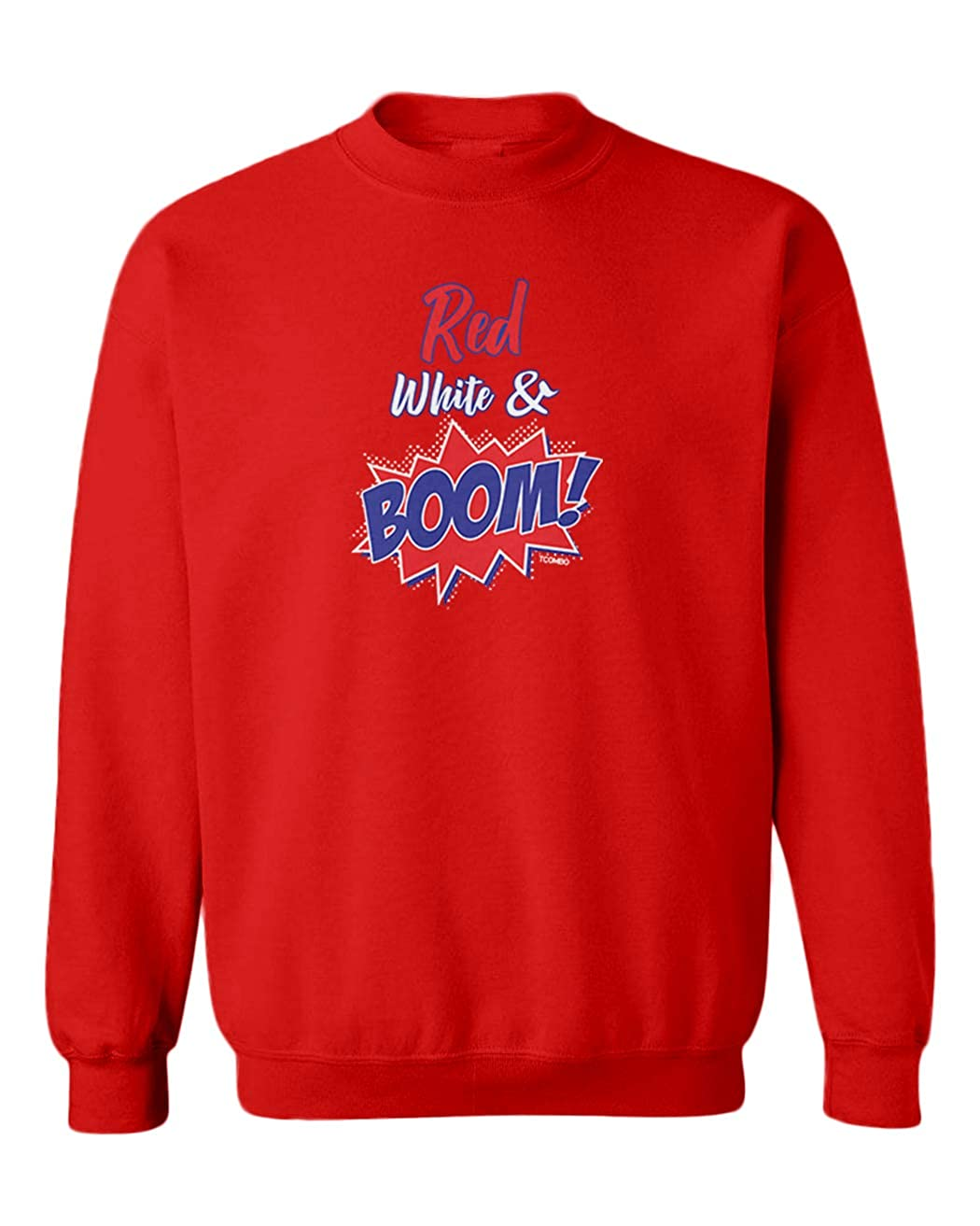 Tcombo Red White and Boom USA Fireworks Youth Fleece Crewneck Sweater