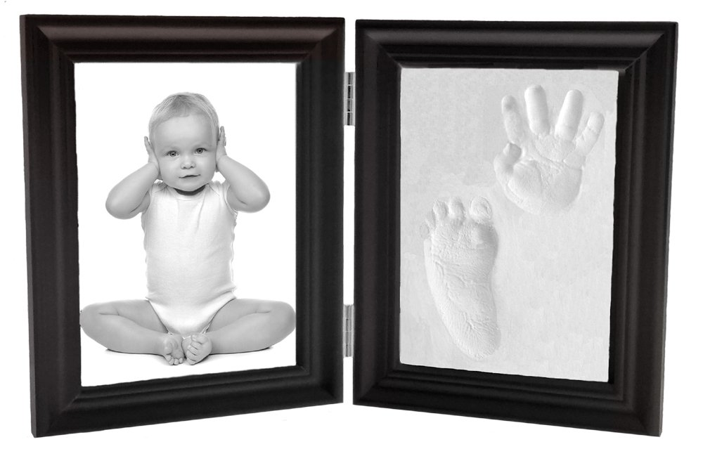 Proud Baby Hand Print and Footprint Air Drying Stone Clay Bi-Fold Quality Wood with Glass Photo Frame Gift Set (Expresso) by Casting Keepsakes