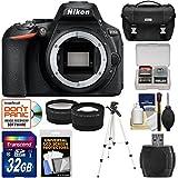 Nikon D5600 Digital SLR Camera Body 32GB Card + Case + Tripod + Tele/Wide Lens Kit (Certified Refurbished)