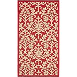"""Safavieh Courtyard Collection CY3416-3707 Red and Natural Indoor/ Outdoor Area Rug, 2 feet 7 inches by 5 feet (2'7"""" x 5')"""