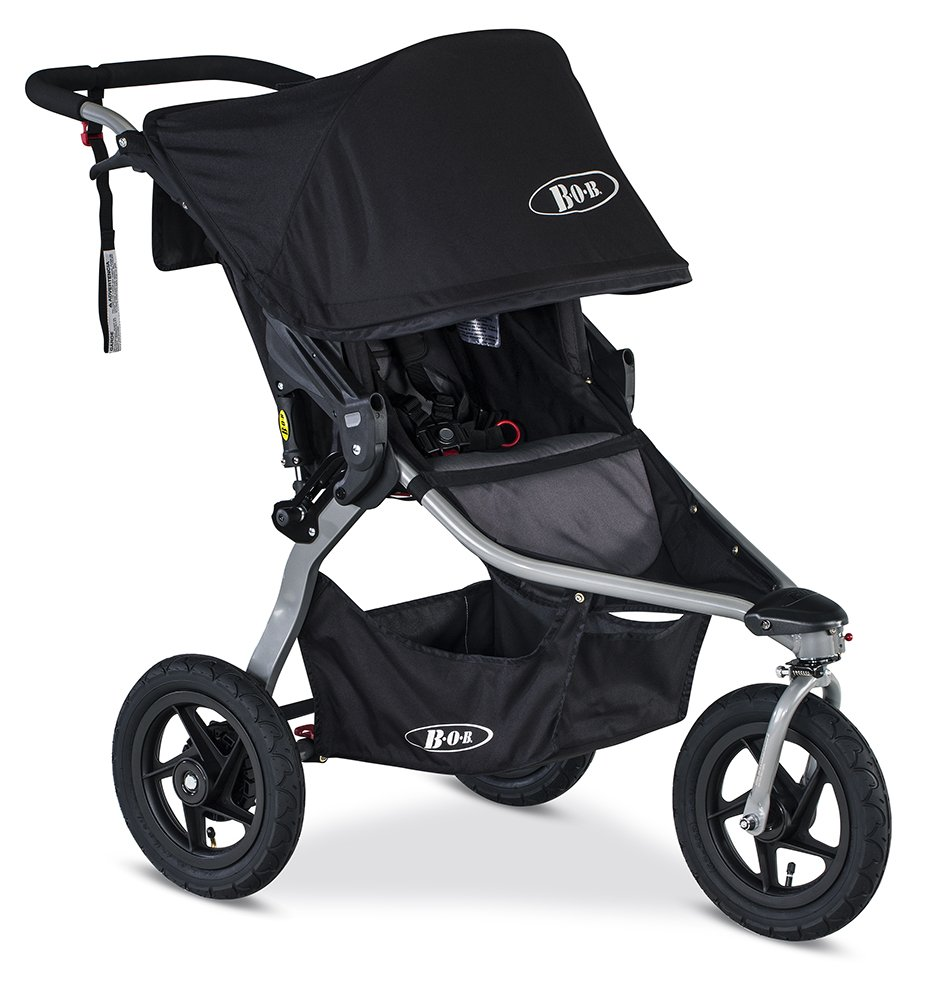 BOB Rambler Jogging Stroller – Up to 75 Pounds – Car Seat Compatible – Easy Fold, Black
